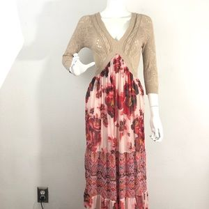 Free People Knit Floral Skirt Maxi Skirt Size XS